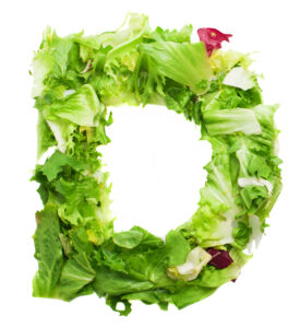 Vegetables & greens forming letter D. natural sources of Vitamin D. Graudupes Latvian Family Farm Microgreens.